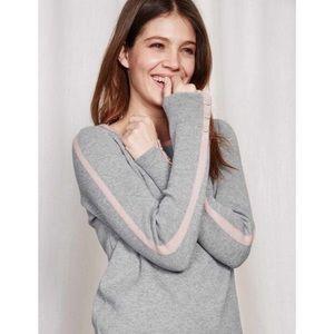 Boden • Grey Pastel Pink Trim Sweater